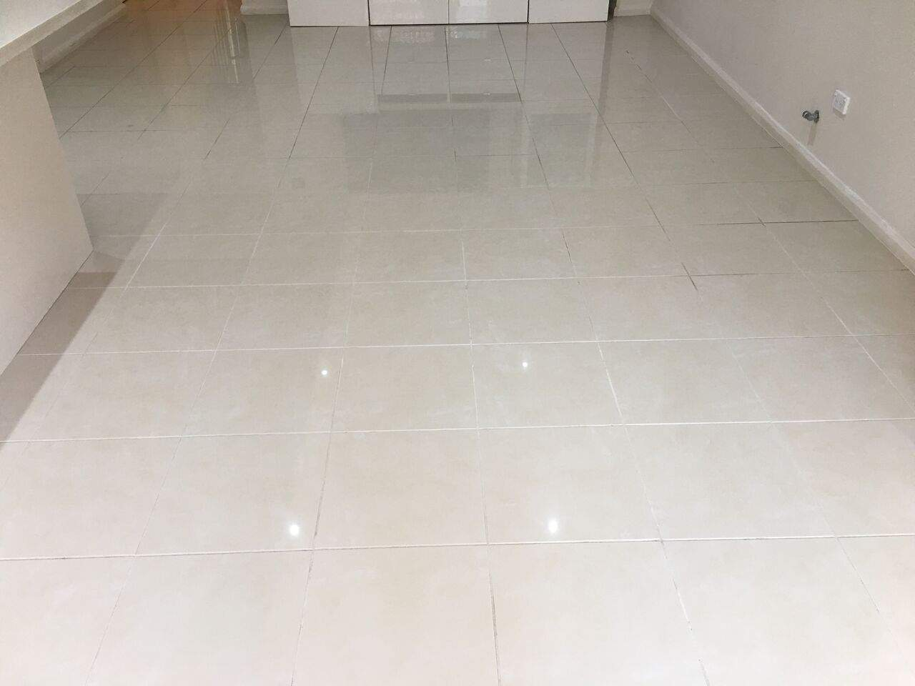 white porcelain tile and grout cleaning