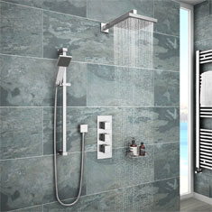 modern rain shower with dark porcelain tiles