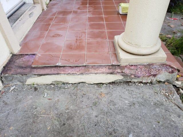 minor tile repair before