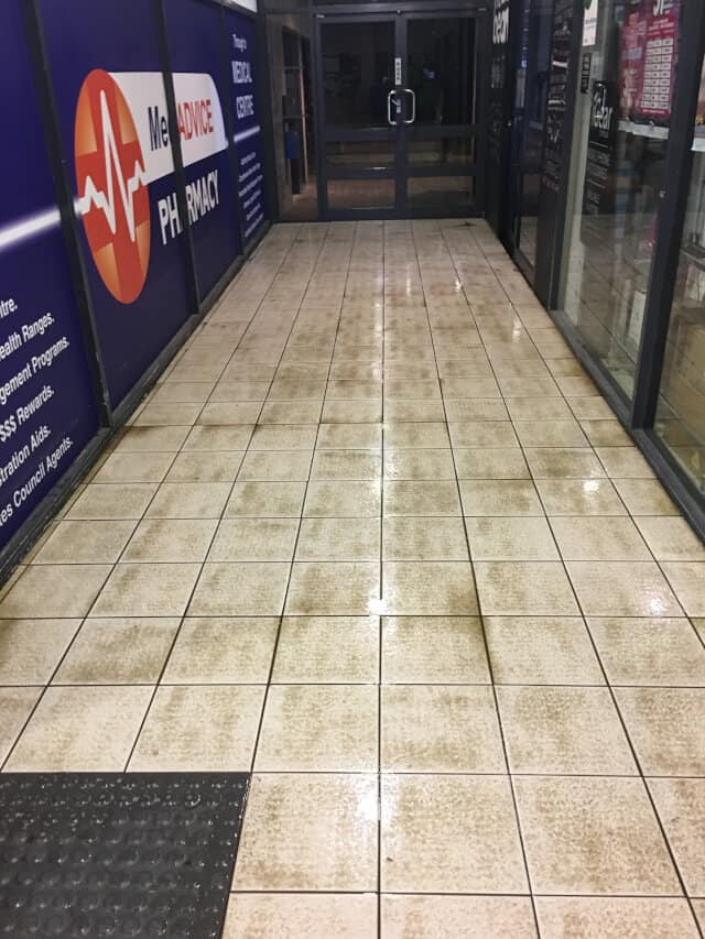 commercial tile and grout cleaning - before