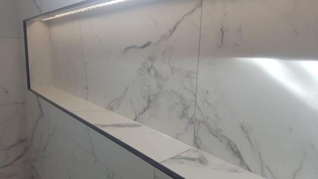 shower niche silicone porcelain tile after