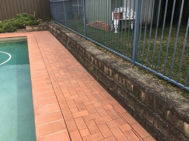 before pool area fence cement pavers clean