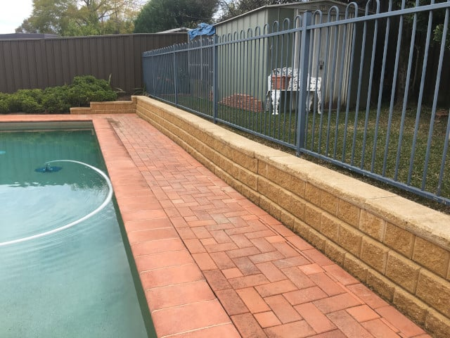 after pool area fence cement pavers clean