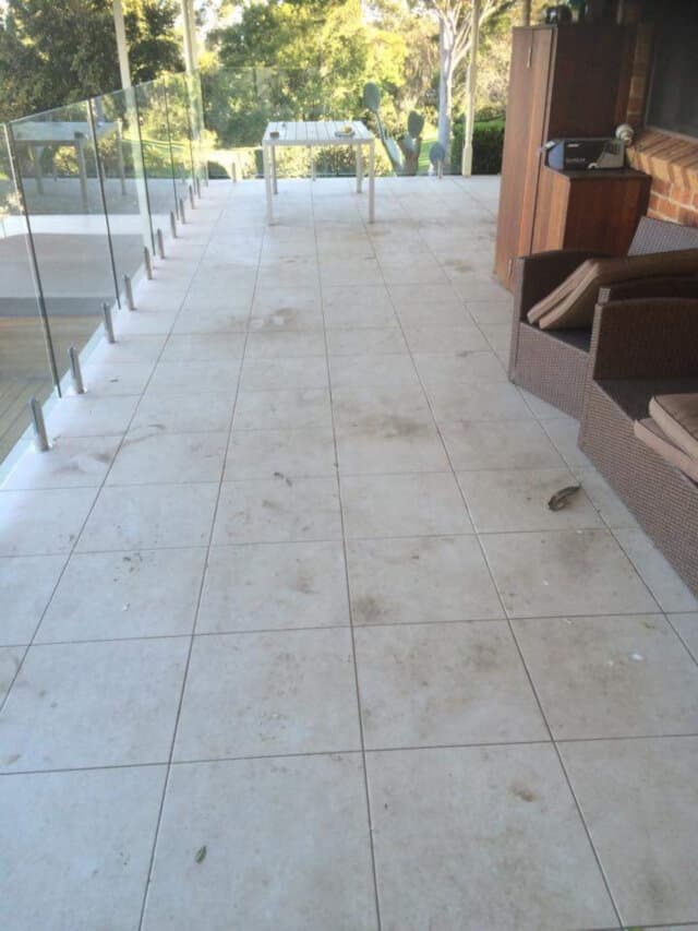 before patio balcony clean limestone
