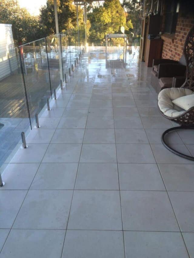 after patio balcony clean limestone