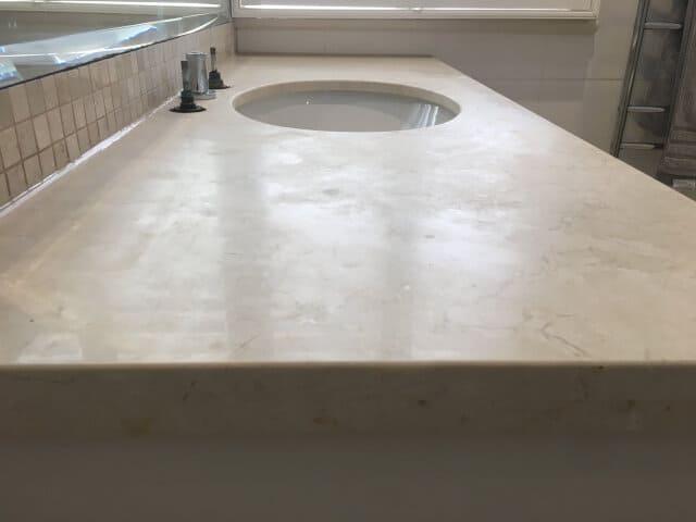 bathroom vanity limestone polish before