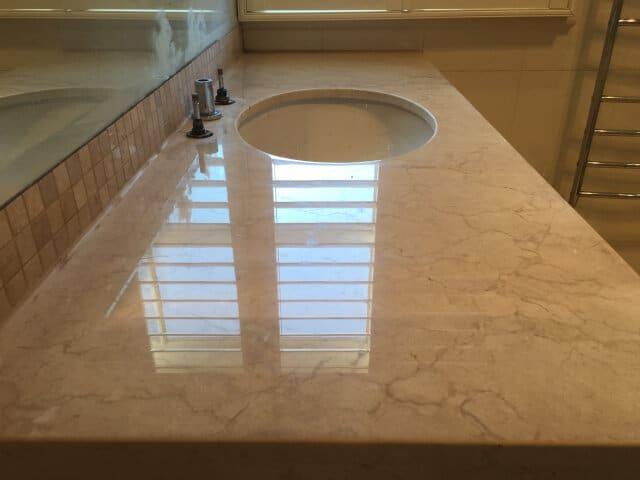 bathroom vanity limestone polish after
