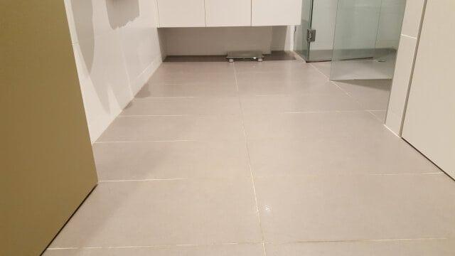 bathroom floor regrout porcelain before