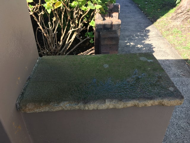 before sandstone fence pillar moss clean
