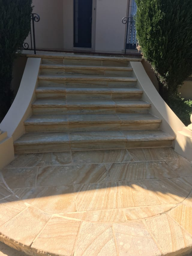 after sandstone stairs outdoors clean and seal