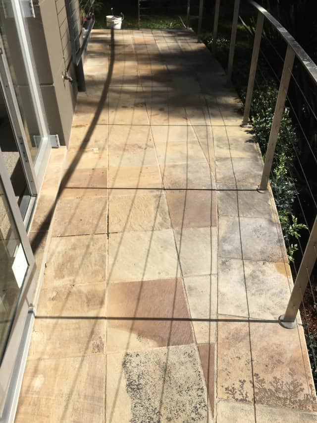 befor balcony sandstone clean