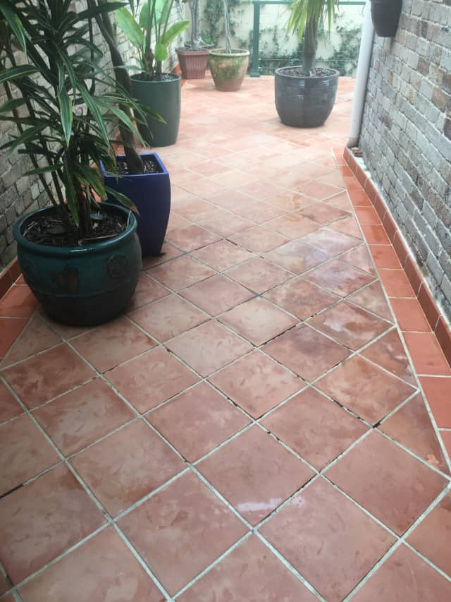 after teracotta outdoor patio courtyard clean