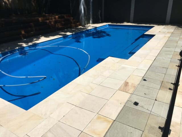 before pool outdoor sandstone clean