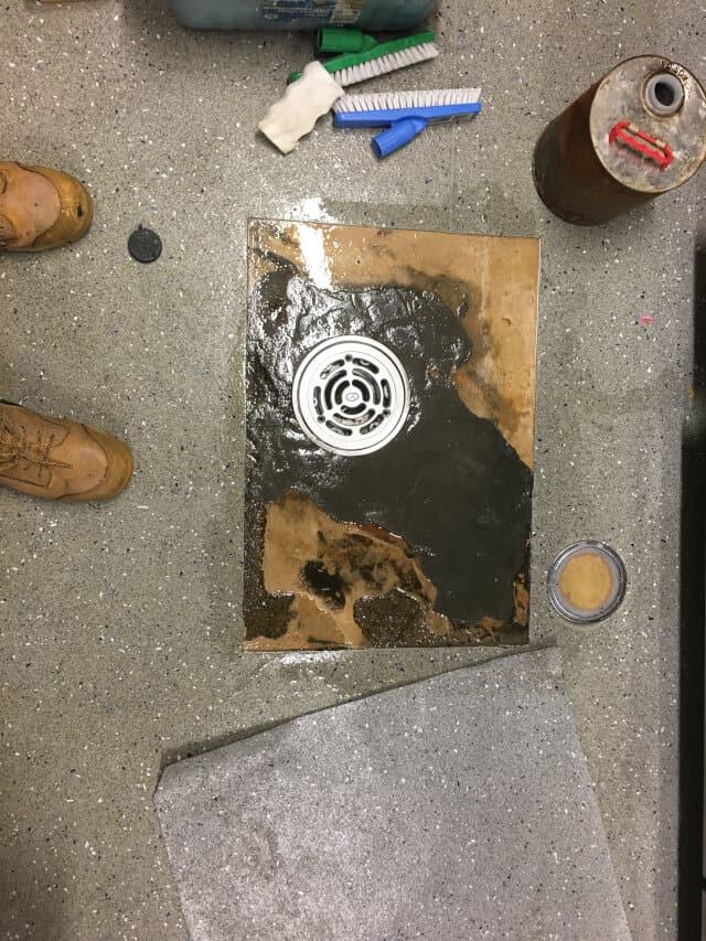before vinyl tile repair commercial kitchen