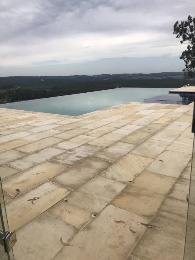 before sandstone clean outdoor mould removal