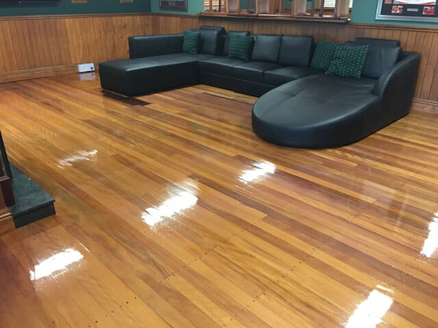 lounge wood waxing and buffing after