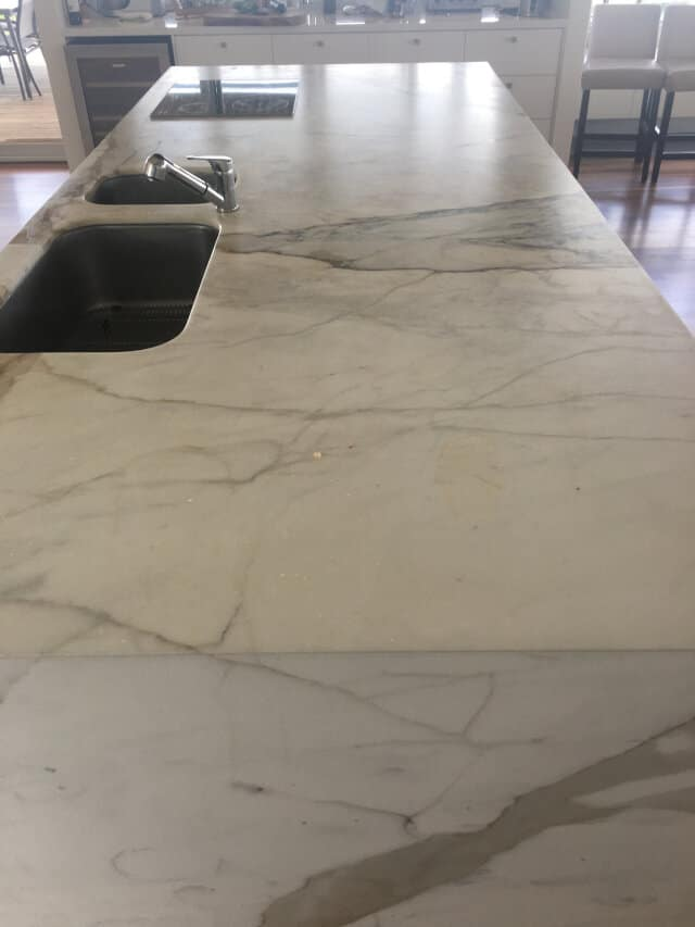 kitchen marble bench honing before