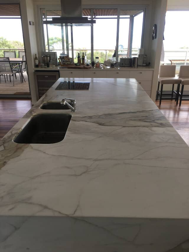 kitchen marble bench honing after