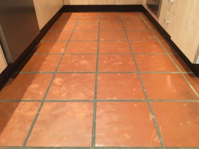 before indoor terracotta kitchen strip seal