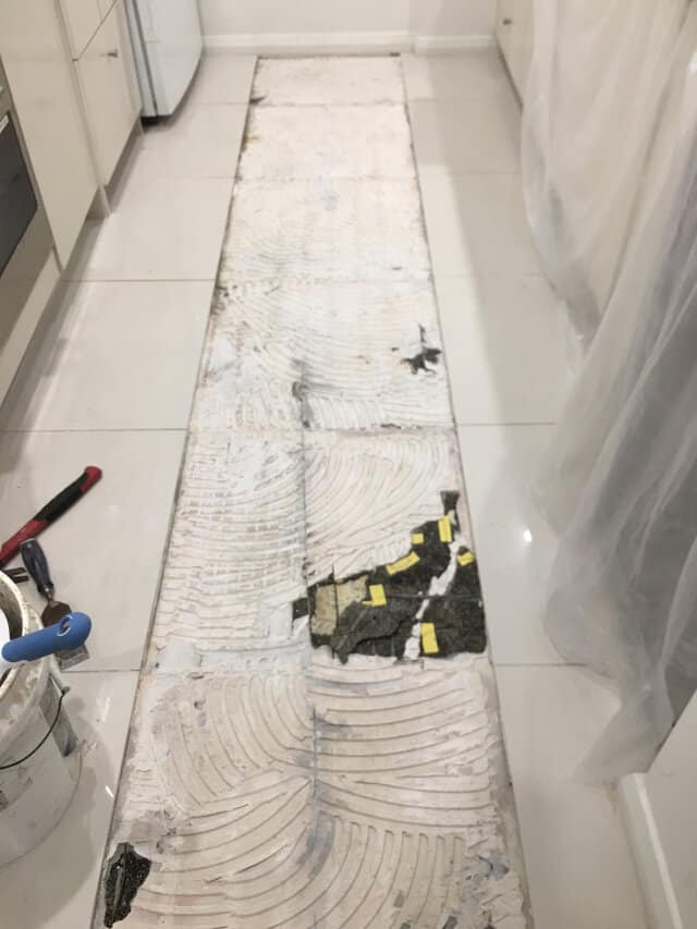 before tile replacement porcelain kitchen underfloor heating