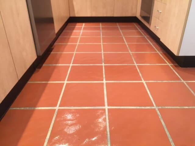 after indoor terracotta kitchen strip seal