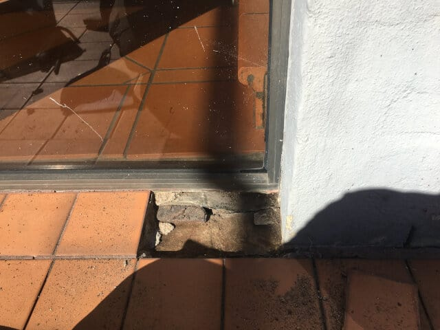 before terracotta tile replacement outdoor