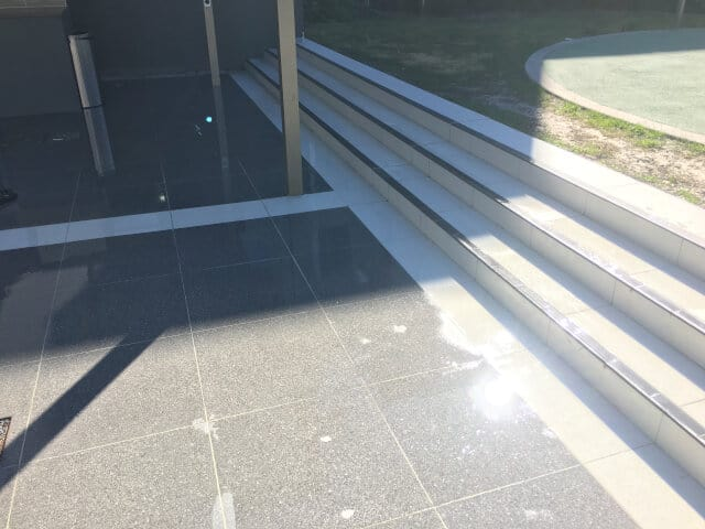 before clean polish stairs pool area outoors ceramic efflorescence