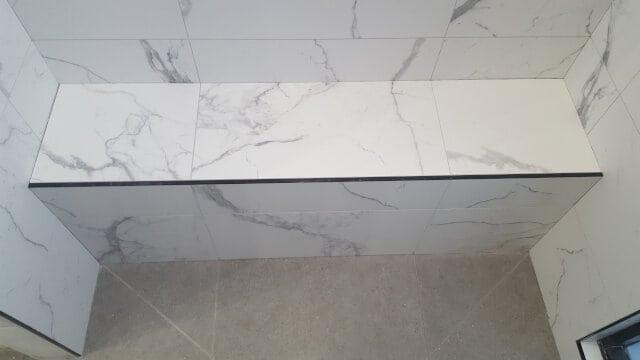 shower hob silicone porcelain tile before