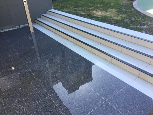 after clean polish stairs pool area outoors ceramic efflorescence